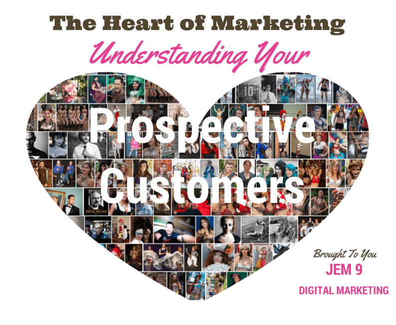 The Heart of Marketing: Understanding your prospective customers. Heart shaped image collage made up of lots of photos of people.