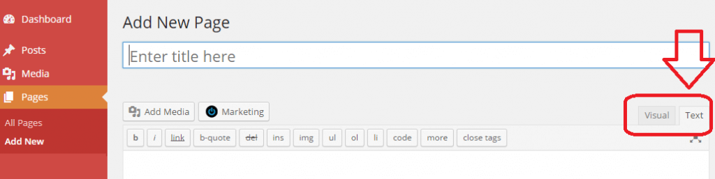 New WordPress Page Text Option