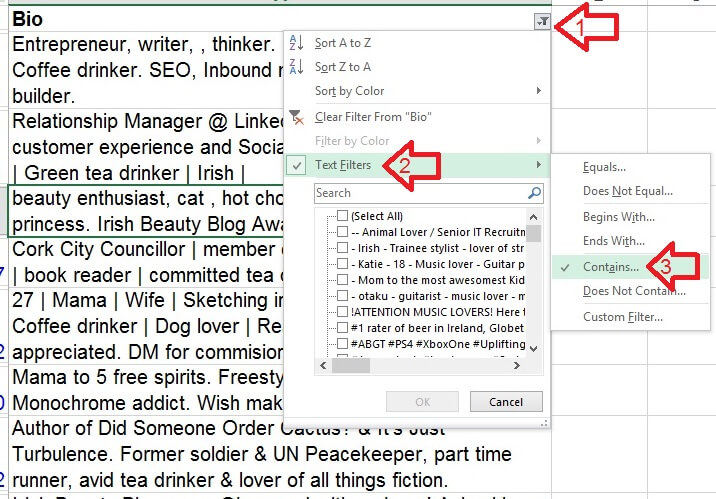 Excel Text Filter For Working With Free Form Text