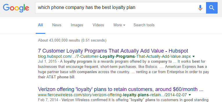 Sources of data In Market Research - Googling which phone company has the best loyalty plan