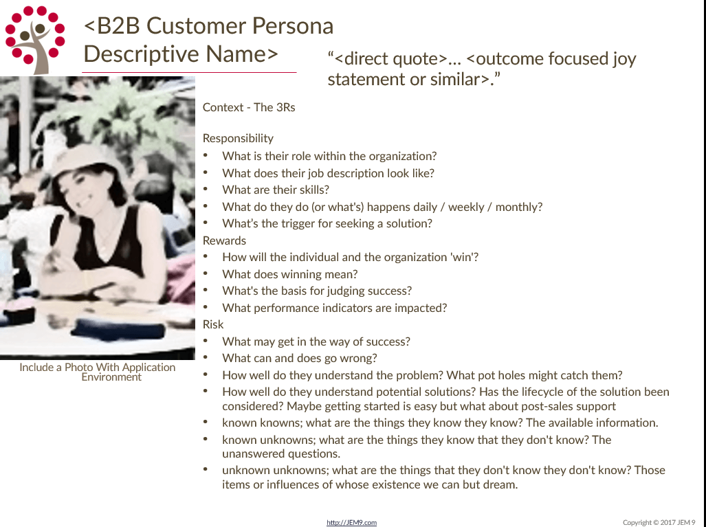 JEM 9 Customer Persona Template