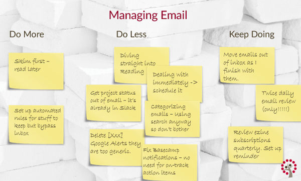 Managing Email Better Using the Three Lists Techniques: Identify what to 'do more', 'do less' and 'keep doing'