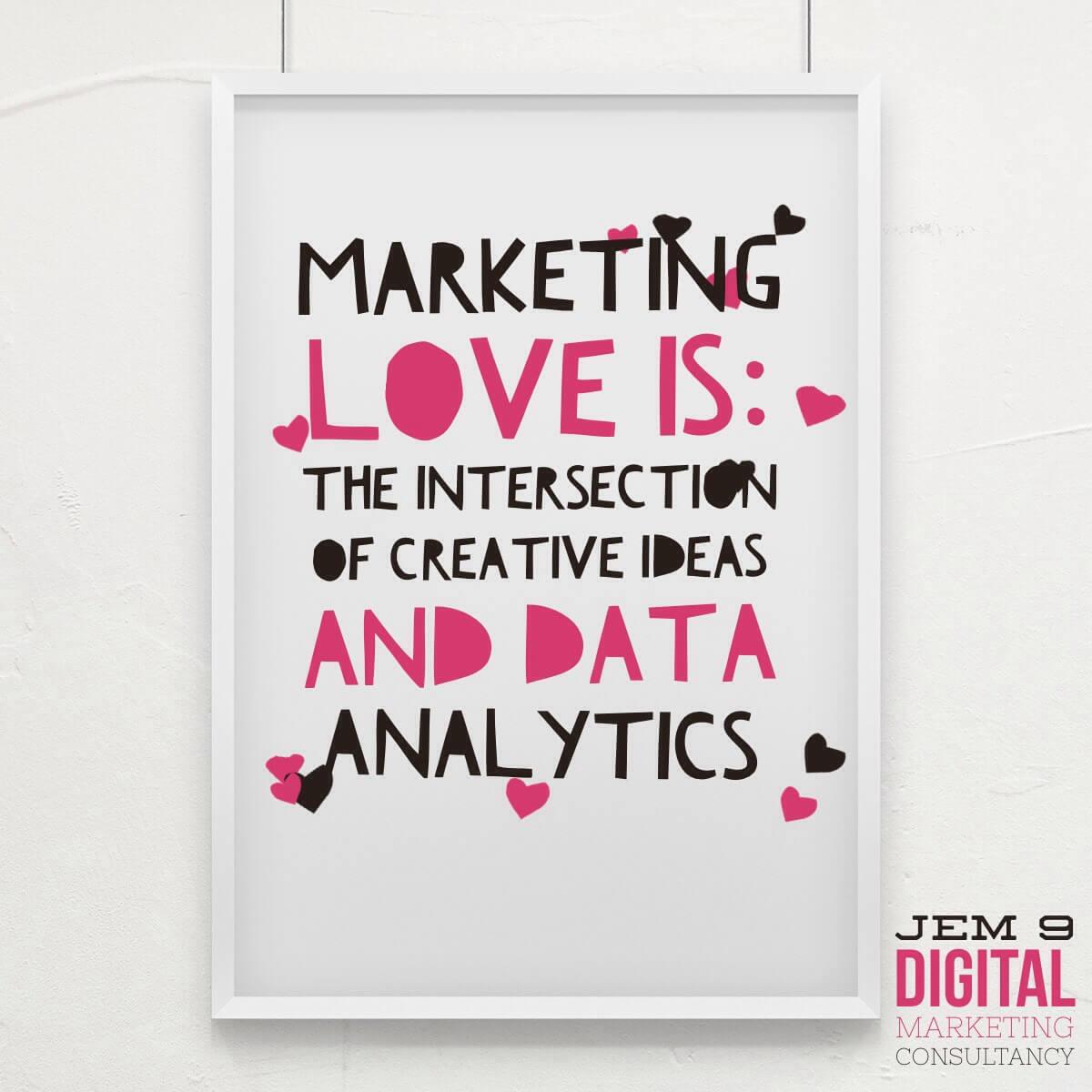MarketingInspiration from JEM 9: marketing love is: the interaction of creative ideas with data analytics. Visit JEM9.com