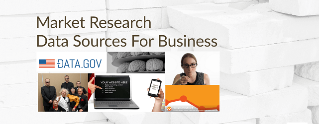 A photo collage of market research data sources for business