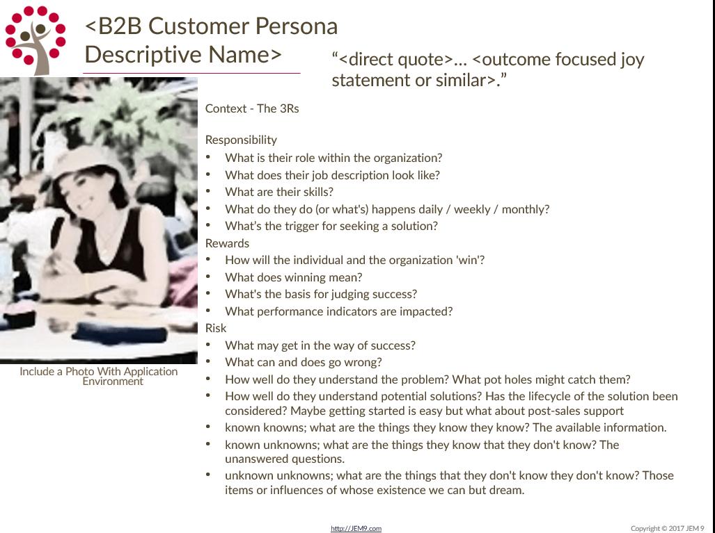 JEM 9 Customer Persona Template