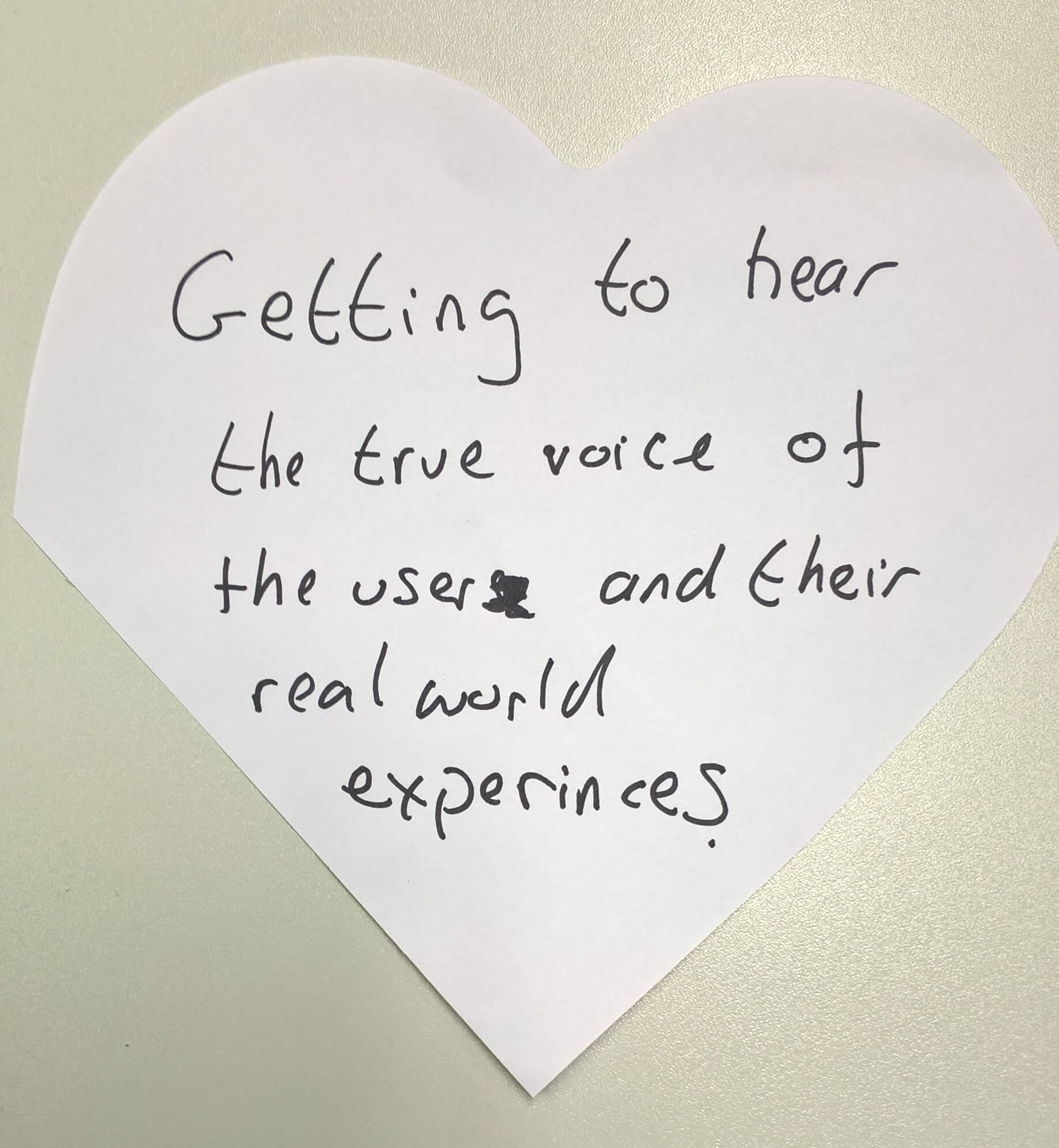 """""""getting to hear the true voice of the user and their real world experiences"""""""