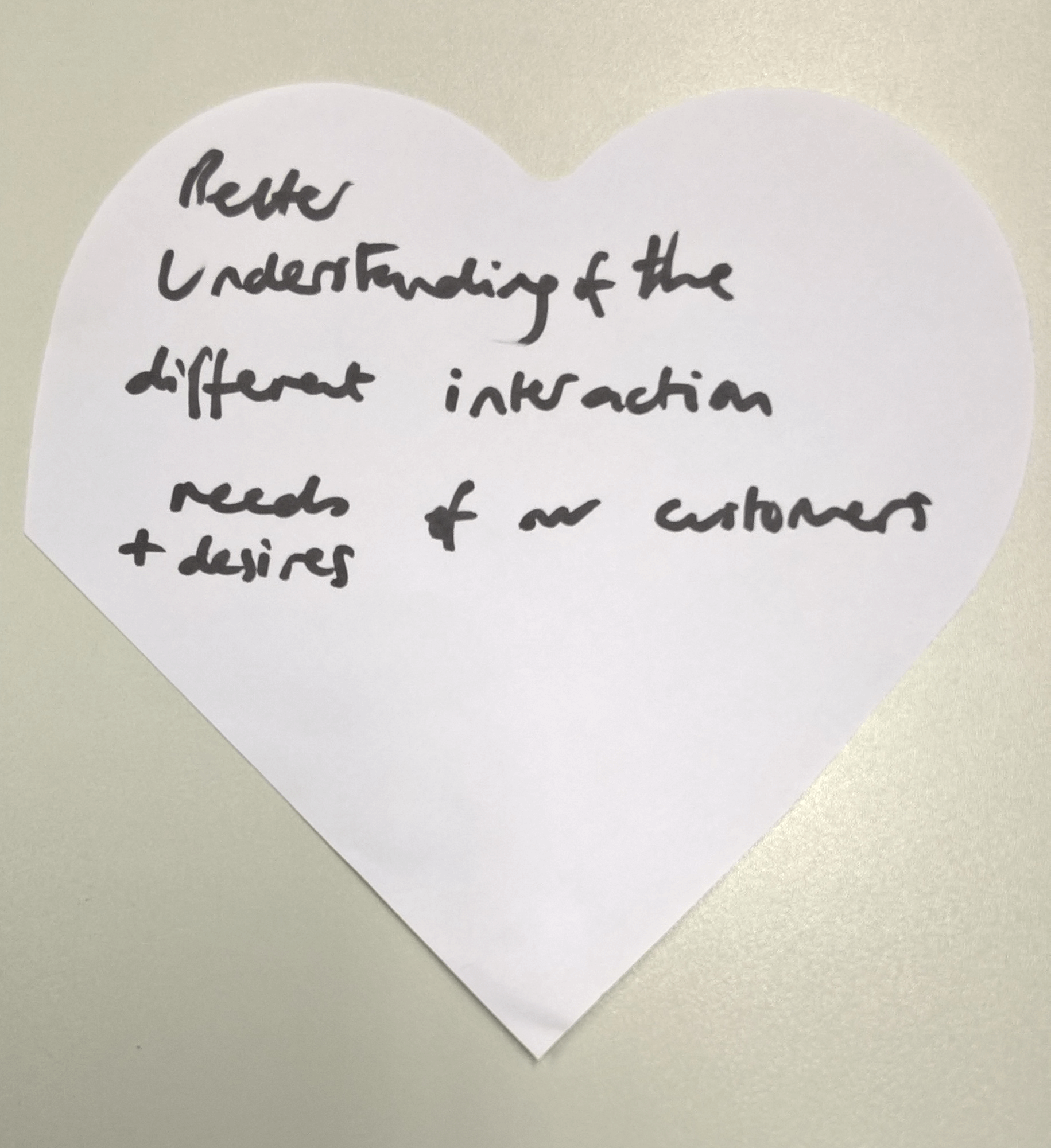 """""""better understanding of the different interaction needs and desires of our customers"""""""