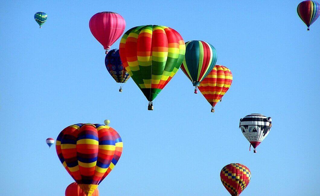 Photography of various hot air balloons